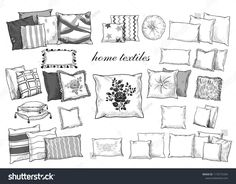 \rHome textiles. A collection of various pillows. Hand-drawn vector illustration in vintage style - Pillow Art Car Drawings, Drawing Sketches, Interior Design Sketches, Interior Rendering, Pillow Drawing, Perspective Art, Home Textile, Designs To Draw, Illustration