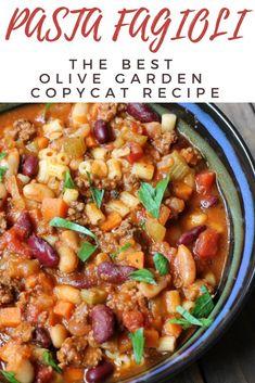 Pasta Fagioli Copycat Olive Garden Recipe - Organize Yourself Skinny - Pasta Fagioli Soup recipe. Pasta E Fagioli, Pasta Fagoli Soup, Pasta Fagioli Soup Recipe, Pasta Soup, Pasta Fagioli Crockpot, Bean Soup Recipes, Pasta Recipes, Cooking Recipes, Olive Garden Recipes