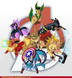 Avengers - Pokemon style aka the Evengers Dojo, Pokemon Original, Eevee Evolutions, Pokemon Eeveelutions, Charmander, She Wolf, Another Anime, Pokemon Pictures, Pokemon Images