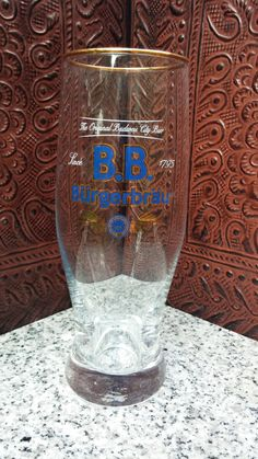 German B.B. Burgerbrau 0.3L Footed Pilsner Bier Beer Glass by CobaltGlassVault on Etsy
