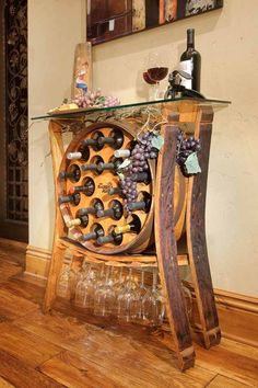 Find Gifts for Wine Lovers including Wine Barrel Furniture, Wine Jewelry and Personalized Wine Gifts. Are you looking for gifts for wine lovers Find unique wine gifts for everyone on your shopping list Wine Barrel Bar Table, Wine Barrels, Wine Cellar, Table Baril, Barrel Projects, Diy Projects, Bar Sala, Wine Barrel Furniture, Creation Deco