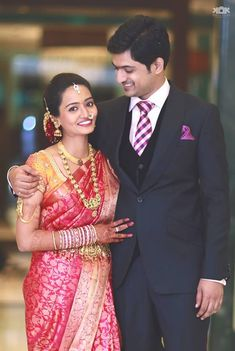 Bride in Traditional Red Silk Saree with Temple Jewelry South Indian Silk Saree, South Indian Wedding Saree, Indian Bridal Sarees, South Indian Weddings, Indian Bridal Makeup, Indian Bridal Wear, Indian Wedding Outfits, South Indian Bride, Saree Wedding