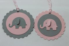 10pc Cute Baby Pink and Grey Elephant Tags for by ThePaperOwl13, $6.00