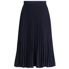 MICHAEL Michael Kors Accordion Pleat Skirt ($165) ❤ liked on Polyvore featuring skirts, accordion pleated skirt, navy blue skirt, layered skirt, pleated skirt and crepe skirt