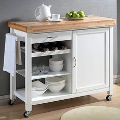 Portable Kitchen Cart Butcher Block Storage Rolling Island Prep Food Utility #BaxtonStudio