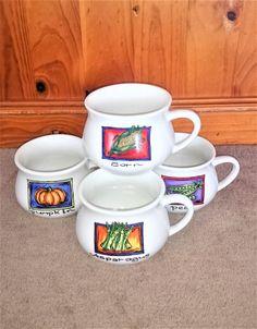 Retro Soup Mugs Set, Pottery Mug with Handle - Capacity 16oz, Set of 4 by Penelainbricandbrac on Etsy