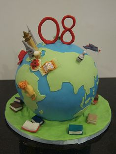 globe travel birthday cake | A globe cake with significant i… | Flickr
