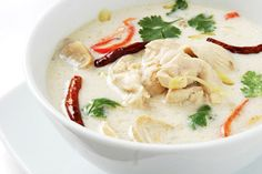 Tom Kha Gai - Delicious Thai soup with chicken, coconut milk and lemon grass!