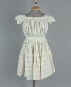 Dress, girl's, white cotton dimity, eyelet trim, 1865-1870
