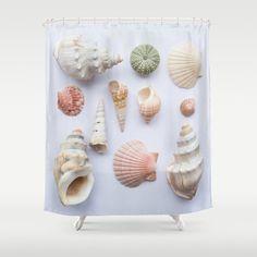 Beach shells shower curtain beach theme decor by NewCreatioNZ