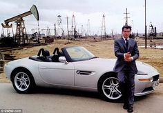 Suave: Pierce Brosnan as James Bond with his BMW which has been put up for sale. James Bond Images, James Bond Cars, James Bond Movies, Bmw Z8, Aston Martin Db5, Classic Aston Martin, Pierce Brosnan, Sean Connery, Bmw Sport