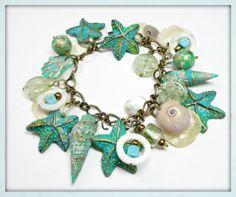 SALE Turquiose Patina Starfish & Florida Shell Bracelet by BeadazzleMe, $28.00