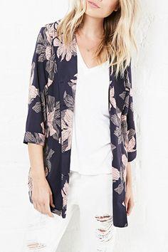 Floral Print Turn-Down Collar 3/4 Sleeves Shirt