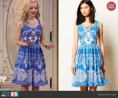 Liv's blue and white patterned dress on Liv and Maddie.  Outfit Details: http://wornontv.net/46603/ #LivandMaddie