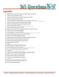 365 questions September - for 5 year journal - would be interesting to add into journaling for project life. 365 Questions, Journal Questions, This Or That Questions, 5 Year Journal, Bullet Journal, My Journal, Journal Pages, Journaling, Writing Inspiration