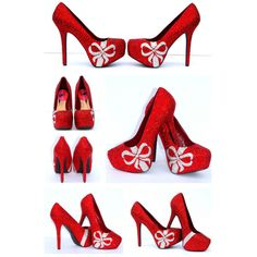 Red Swarovski Crystal Heels With Clear Crystal Bows ($300) ❤ liked on Polyvore featuring shoes, pumps, silver, clear shoes, clear pumps, bow pumps, red shoes and christmas shoes