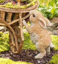 Our Standing Rabbit Garden Statue will steal the hearts of guests, visitors and garden fairies … Garden Animal Statues, Fairy Statues, Garden Animals, Garden Statues, Garden Sculptures, Metal Garden Art, Glass Garden, Rabbit Sculpture, Rabbit Garden