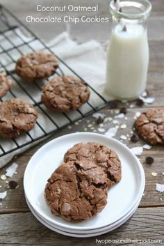 Coconut Oatmeal Chocolate Chip Cookies  - from @Maria (Two Peas and Their Pod)