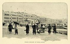 Postcoard of chair coolies, Hong Kong, 1900.
