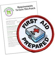 """First Aid Prepared Fun Patch. The """"First Aid"""" Fun Patch is the perfect way to demonstrate that your group has learned the basics of First Aid. Scout Mom, Girl Scout Swap, Daisy Girl Scouts, Girl Scout Leader, Girl Scout Troop, Brownie Girl Scouts, Girl Scout Fun Patches, Daisy Patches, Girl Scouts Of America"""