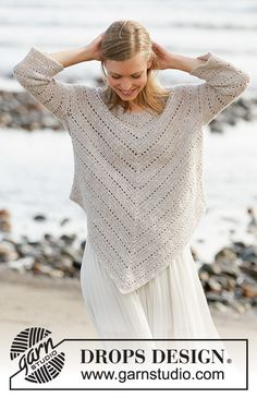 Hey June / DROPS - Free crochet poncho sweater pattern and chart by DROPS Design Drops Design, Poncho Crochet, Free Crochet, Knit Crochet, Knit Cowl, Hand Crochet, Knitting Patterns Free, Free Knitting, Crochet Patterns