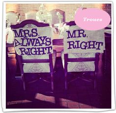 wedding chairs for the bride and groom. Can I get the mrs always right one? Wedding Wishes, Wedding Bells, Our Wedding, Dream Wedding, Wedding Pins, Wedding Reception, Wedding Rehearsal, Reception Table, Wedding Moments