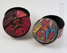 Comic Book Crafts: Superman & Batman Boxes - Crafts by Amanda. Can use printed pictures of your favorite book covers too.