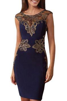 Women's V Back Hollow Out Lace Appliques Bodycon Dress - OASAP.com