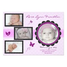 Baby Girl Announcement Butterfly Baby Girl Photo Birth Announcement