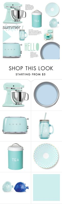 """Summer Kitchen"" by littledesigns ❤ liked on Polyvore featuring interior, interiors, interior design, home, home decor, interior decorating, KitchenAid, Smeg, ALADDIN and Dot & Bo"