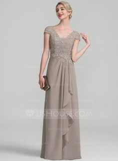 A-Line/Princess V-neck Floor-Length Beading Sequins Cascading Ruffles Zipper Up Sleeves Short Sleeves No Taupe Spring Summer Fall General Plus Chiffon Lace Height:5.7ft Bust:33in Waist:24in Hips:34in US 2 / UK 6 / EU 32 Evening Dress
