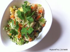 Snow Pea, Nectarine, Carrot & Cucumber Summer Quinoa Salad with Cilantro & Asian-Style Dressing, by Aujourd'hui, j'ai testé