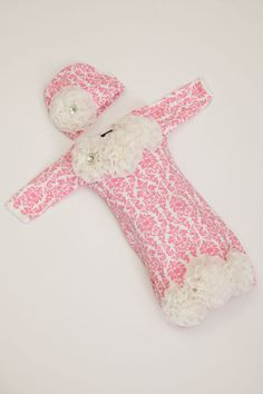 Pink Damask Newborn Layette Cotton Baby Gown with by jacqueline225, $34.00  Next friend to have a baby girl! :)