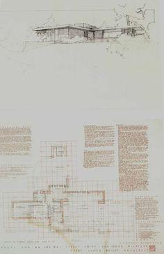 Usonian House, Frank Lloyd Wright Buildings, Architecture Plan, Postmodernism, House Design, Posts, Cabins, Sketch, Floor Plans