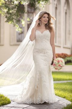 Fit-and-flare strapless wedding dress - lace wedding dress with Diamante embellishments throughout. Available in sizes 2-34. Style 6220+ by @stellayorkbride.