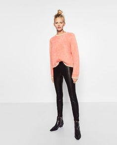 Image 1 of LEATHER EFFECT LEGGINGS from Zara