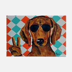 Dachshund Peace Sign Magnets for