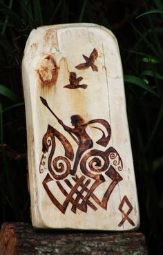 norsemanarts:    Odin, Sleipnir, Hugin and Munin  Wood Burning by Norseman Arts.