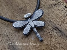 Dragonfly necklace in sterling silver, artisan metalsmith jewelry by JoDeneMoneuseJewelry