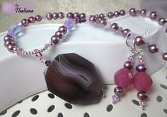 PURPLE AFRICA botswana agate jewelry set necklace by Thaliana