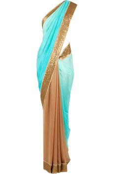 Gold with shades of aqua and green sari available only at Pernia's Pop-Up Shop.