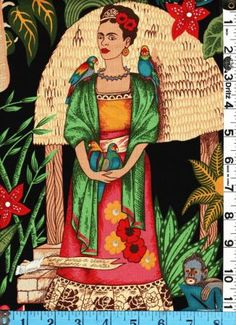 Fabric Henry FRIDA'S GARDEN Milagros MEXICAN ARTIST 2