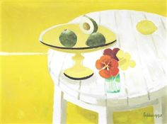Avocado and flowers By Mary Fedden Modern Art, Contemporary, Artist Painting, Exhibitions, Hygge, Painting Inspiration, Flower Art, Still Life, Tablescapes