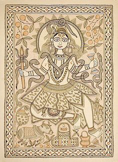 Bihar paintings - Indian folk paintings are the Mithila(also called Madhubani) paintings from the Mithila region of Bihar state Indian Artwork, Indian Folk Art, Indian Paintings, Madhubani Art, Madhubani Painting, Om Namah Shivaya, Traditional Paintings, Traditional Art, Human Sketch