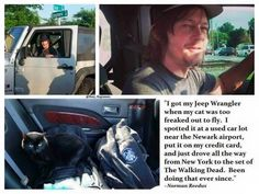 Norman's cat is too scared to fly so he bought a car to drive him to TWD set. Could he be any more perfect?