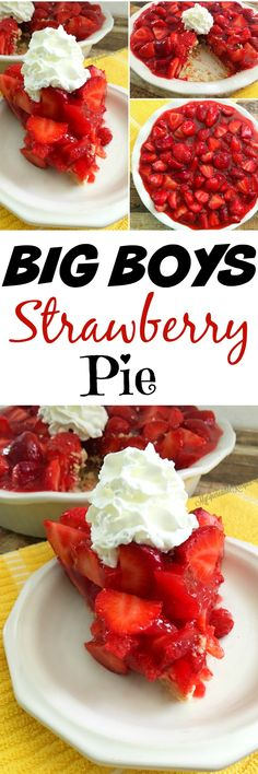 remember the fantastic fresh strawberry pie on the menu of the Big Boy restaurants in Michigan, back when I was young.I remember the fantastic fresh strawberry pie on the menu of the Big Boy restaurants in Michigan, back when I was young. Just Desserts, Delicious Desserts, Yummy Food, Tasty, Fresh Strawberry Pie, Strawberry Desserts, Big Boy Strawberry Pie Recipe, Stawberry Pie, Easy Strawberry Pie