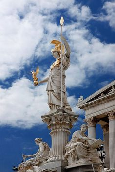 The Athena Fountain (Pallas-Athene-Brunnen) in front of Austrian Parliament Building, Vienna Statues, Steinmetz, Heroes Of Olympus, Greek Gods, Machu Picchu, Gods And Goddesses, Greek Mythology, Ancient Greece, Ancient History