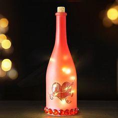 LED Champagne Bottle Lights Cork Starry String Heart Arrow Pattern Ruby Decor #BRIGHTZEAL