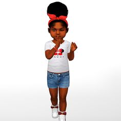 HBCU Black Girl Sims 4 Toddler, Cut Shirts, Swatch, Onesies, Gucci, Unisex, Female, How To Wear, Black