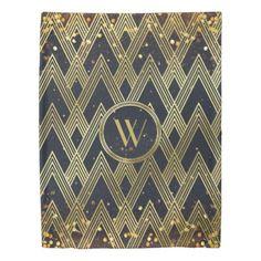 Art Deco Gatsby Glitter Geometric Pattern Monogram Duvet Cover - home decor design art diy cyo custom